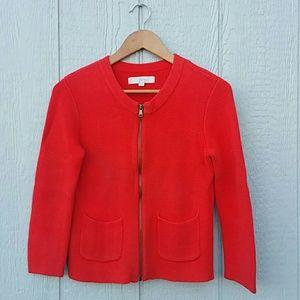 Ann Taylor Loft Full Zip Sweater Orange XS